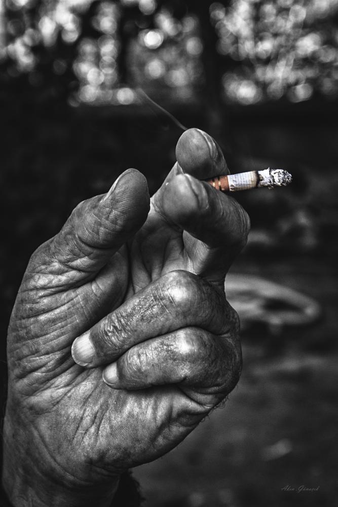 Photo in People #cigar #650d #hand #smoke #smoking #oldman #people #boneh