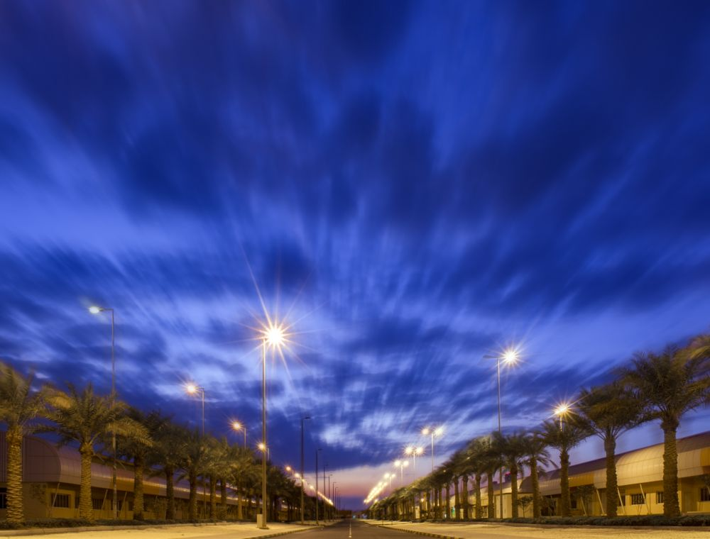 Photo in Landscape #bahrain #clouds #motion #sky #night #trees #road #manipulation #lights