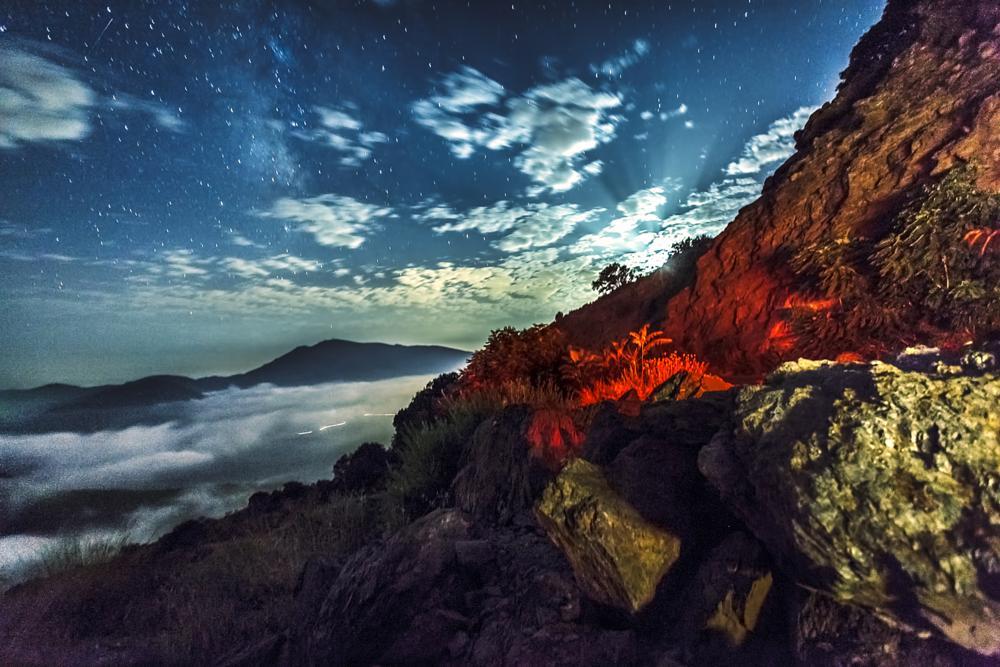 Photo in Landscape #landscape #night #stars #lights #stones #pitres #granada #alpujarra #andalucia