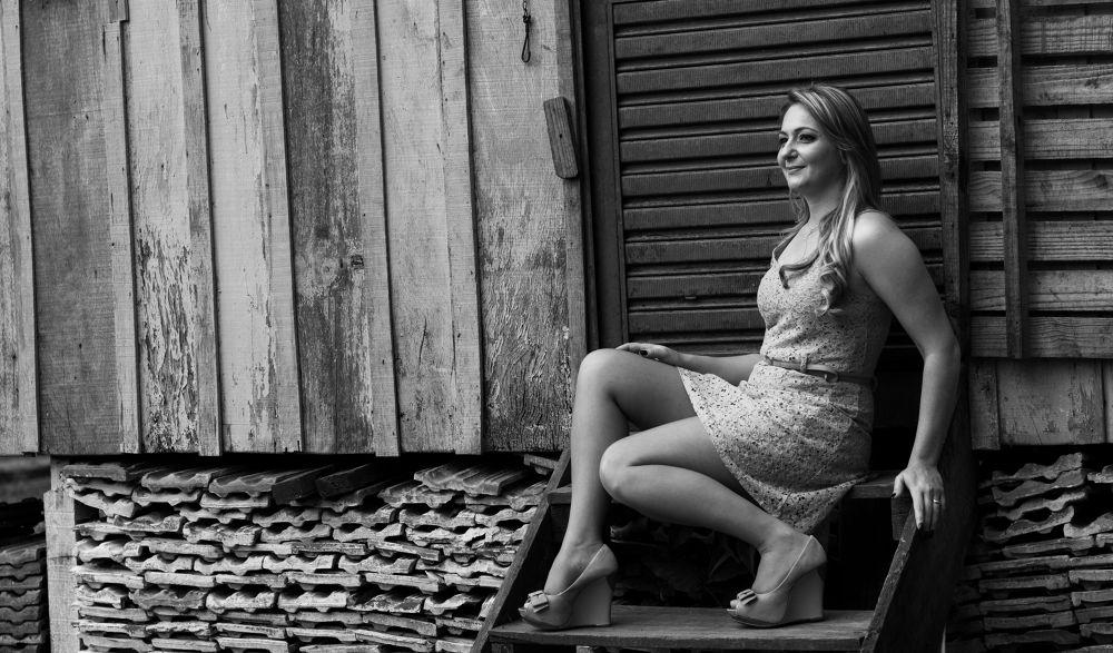 Photo in Portrait #ypa2013 #portrait #house #woman #girl #blackandwhite #dress