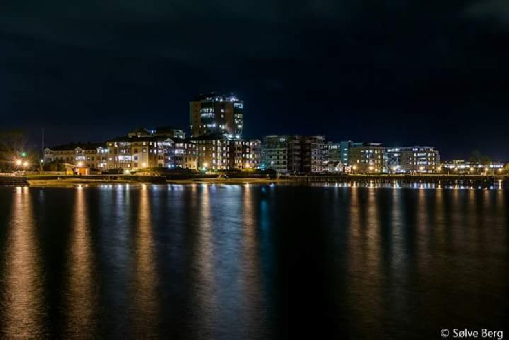 Photo in Cityscape #norway #larvik #night #harbor