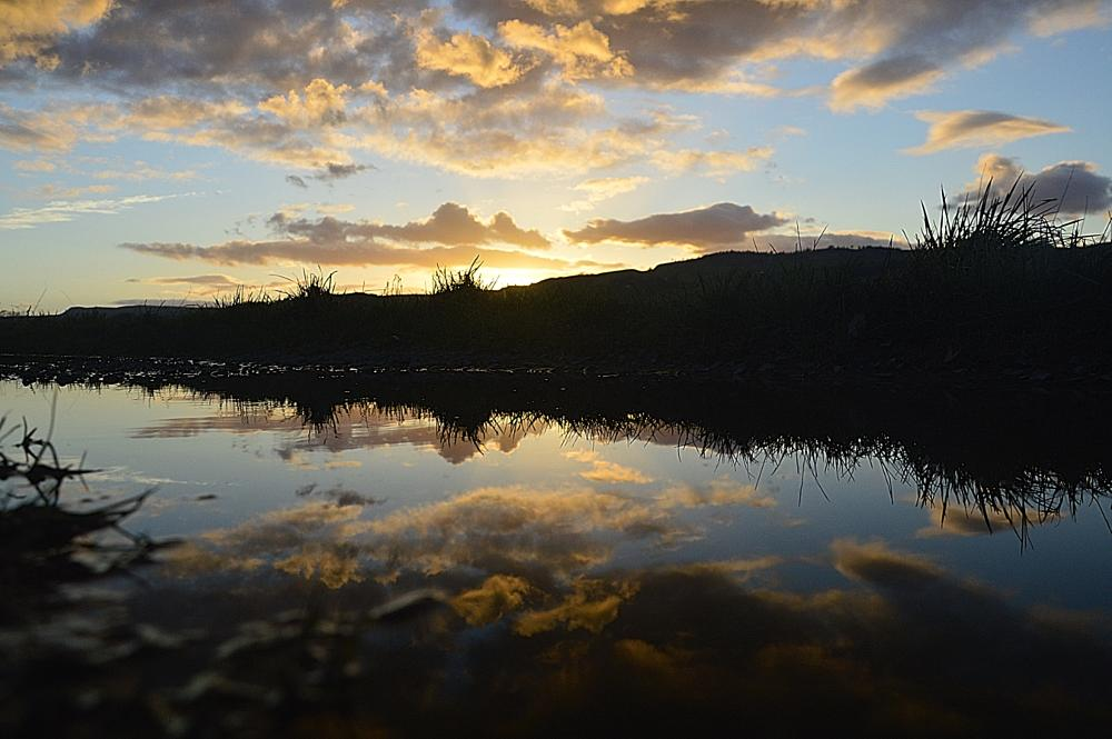 Photo in Nature #puddle #reflection #sunset #perthshire
