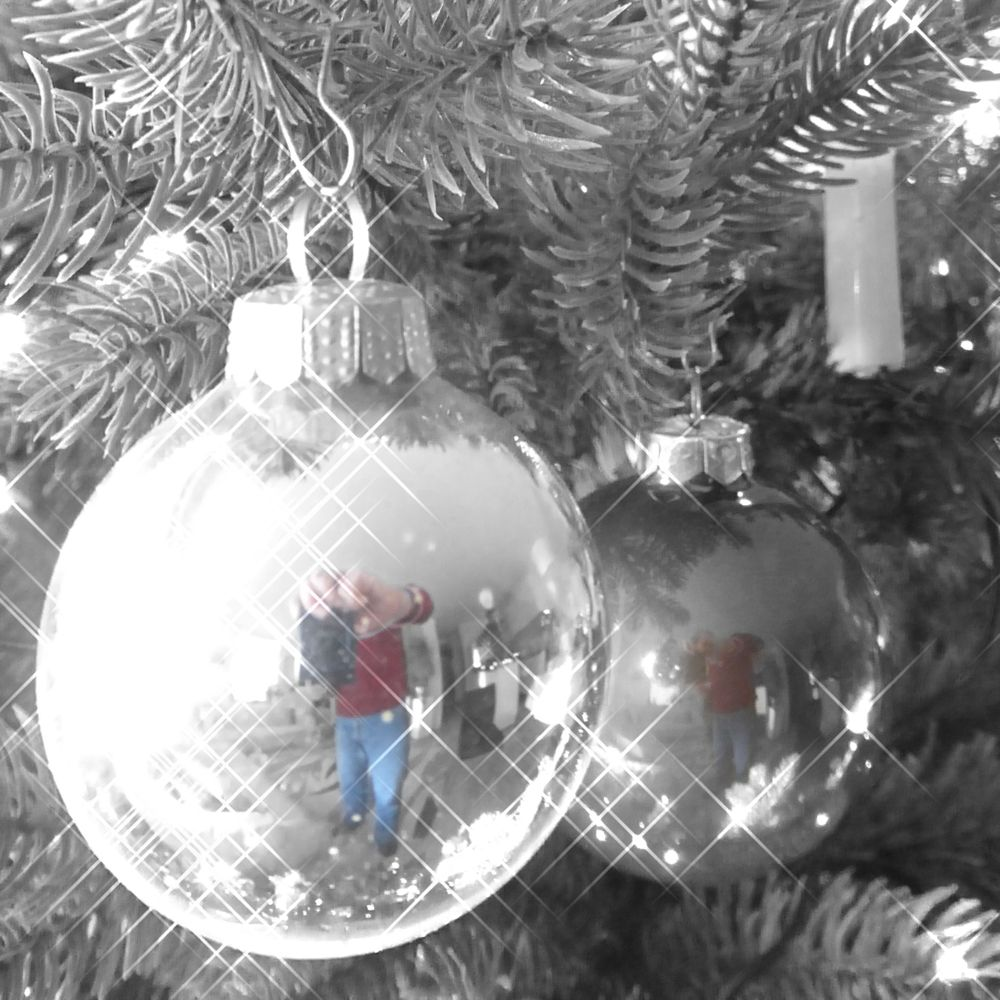 Photo in Black and White #christmas #selfie #double #christmas balls #black #white