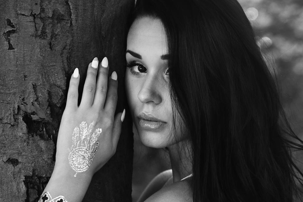 Photo in Random #girl #woman #female #model #beauty #sensual #portrait #85mm #tattoo #summer #black #hair #miss