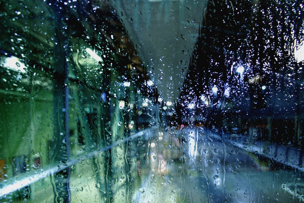 Photo in Abstract #rain #bus station #night