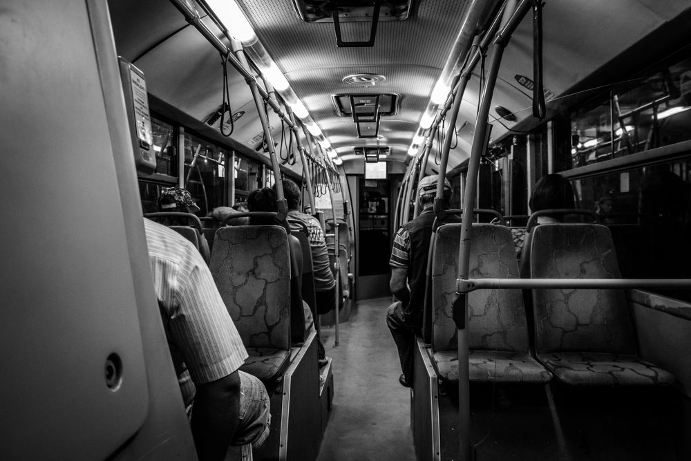 Photo in Vehicle #summer #summer 2013 #2013 #ypa2013 #constanta #romania #b&w #black and white #black & white #black #white #transportation #bus #trolley bus #vehicle #people #photography #canon #canon eos #canon eos 1100d #1100d