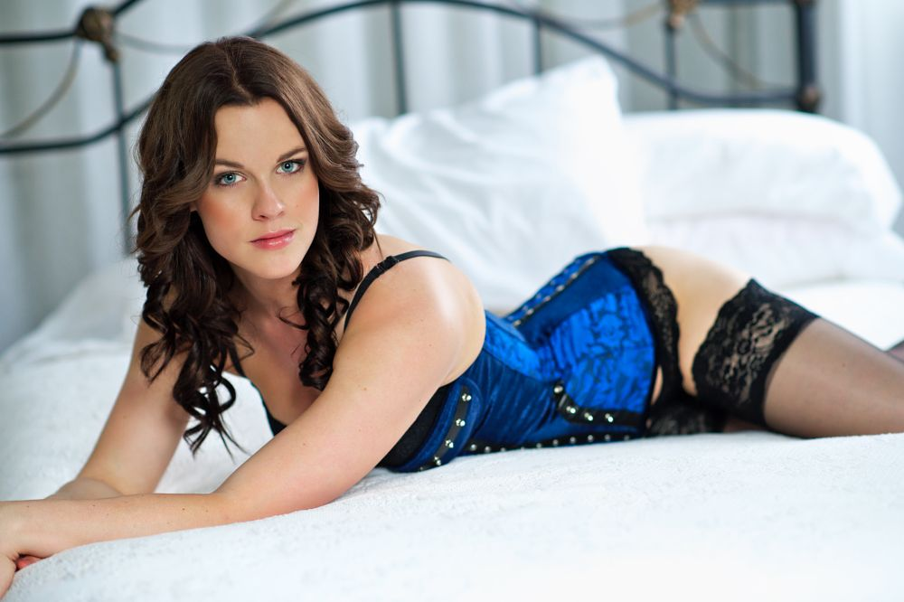 Photo in Random #blue eyes #corset #brownhair #bedroom #bed #stockings #boudoir #allureboudoir #prettylady #prettygirl
