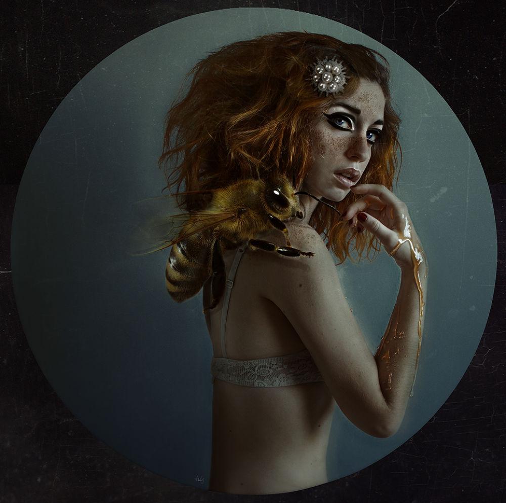 Photo in Fine Art #bee #big #monster #lídia vives #photography #selfportrait #self #ginger #girl #freckless