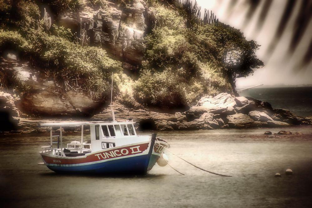 Photo in Travel #beach #sea #boat #armação de búzios #stones #magic day #trees
