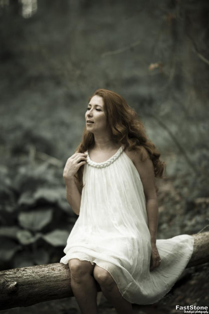 Photo in Fine Art #woods #forest #redhead #model #modelphotography #maryland #whitedress #beauty