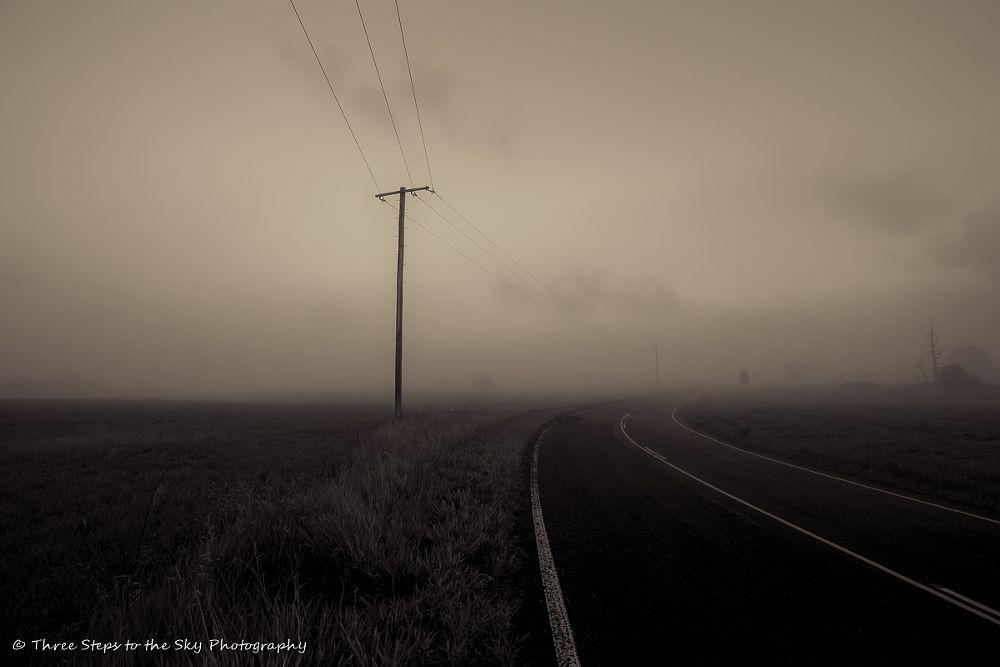 Photo in Landscape #fog #morning #dark #pre-sunrise #road #power lines