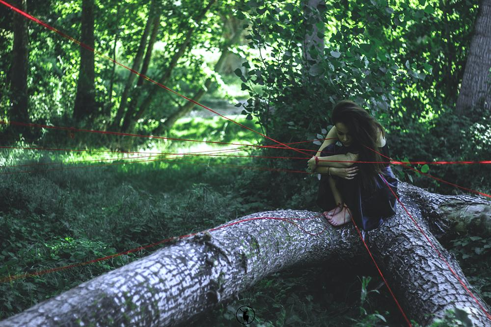 Photo in Fine Art #red #cord #fate #nature #forest #red string of fate #alba rochina #photo #photography #destiny
