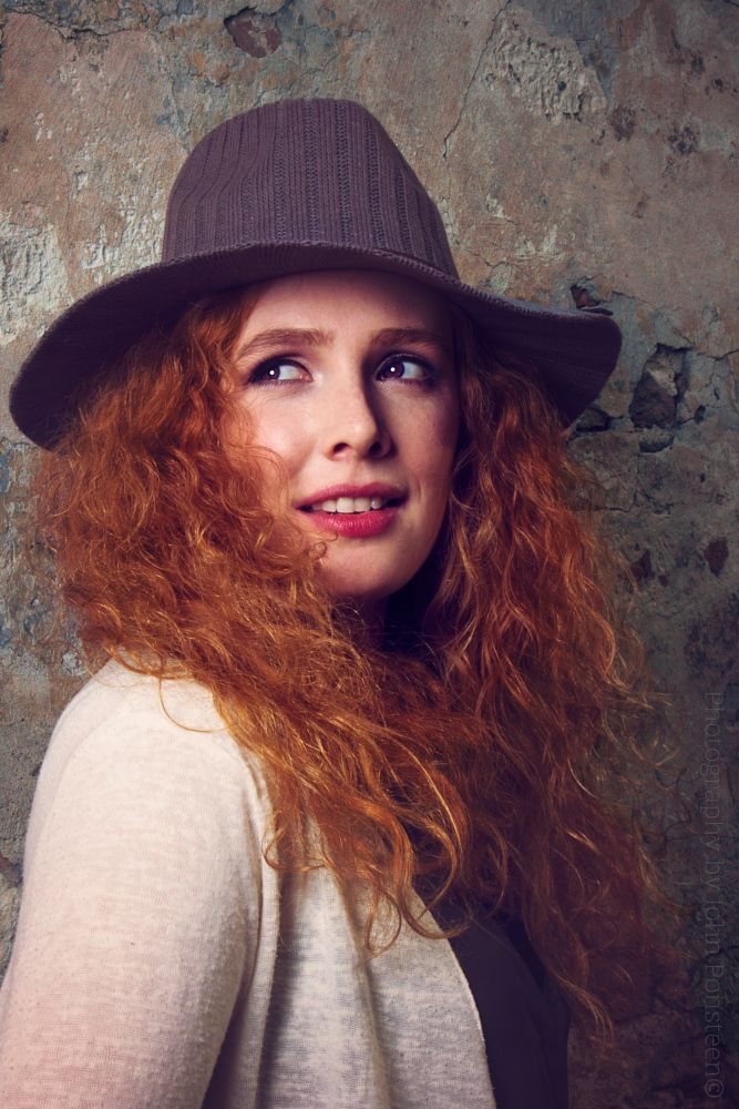 Photo in Random #girl #model #eyes #hair #redhair #redhead #ginger #hat #pose #canon #photography #godox #softbox #elburg #lips #makeup #wall #fashion #urban #exposure #capture #moment #retouched #retoucher