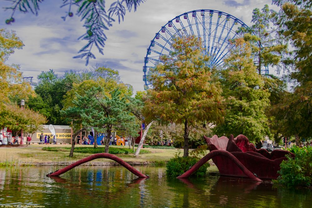 Photo in Journalism #ferris wheel #state fair #texas #state fair of texas #fall #fall colors #street photography #journalism #people #amusement park #cloud #sky #lagoon #water #monster #serenity