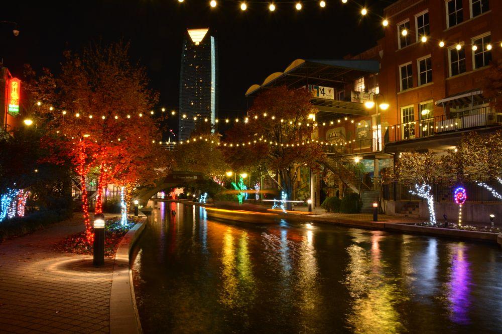 Photo in Cityscape #lights #canal #oklahoma #oklahoma city #bricktown