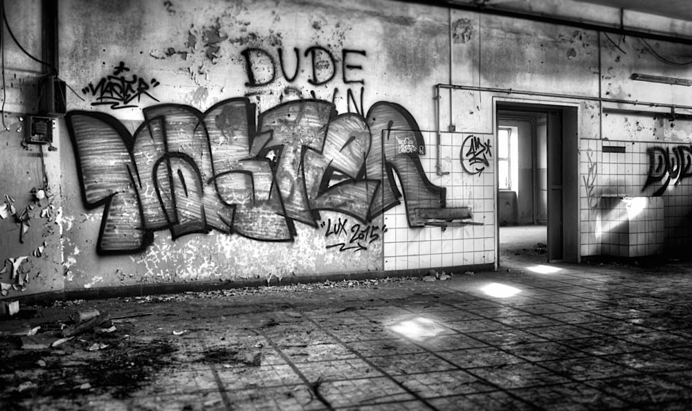 Photo in Black and White #graffiti #abonded #dudelange #bw #www.carloscherer.eu