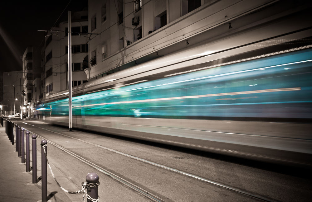 Photo in Vehicle #trolley #tramway #tram #rabat #aminefassi #morocco #maroc #urban #city #transport #selective colour #long exposure #black and white