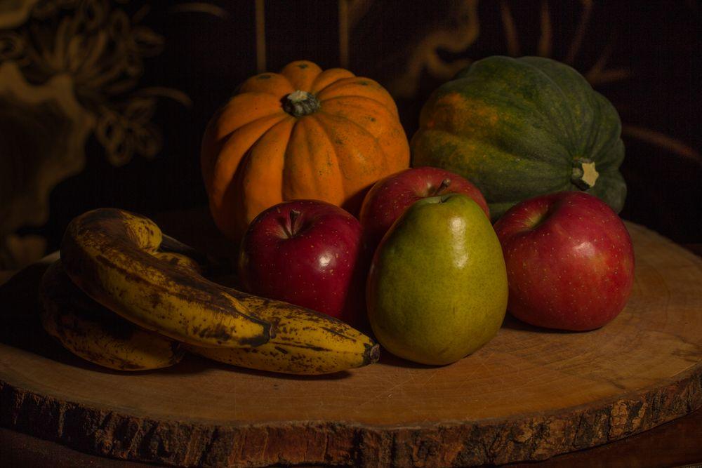 Photo in Still Life #still life #fruit #apples #pears #bananas #squash