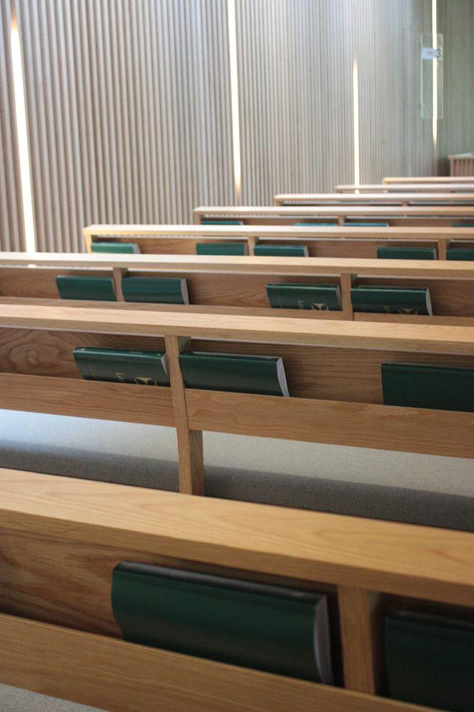 Photo in Random #church #pews #wooden interior #hymn books