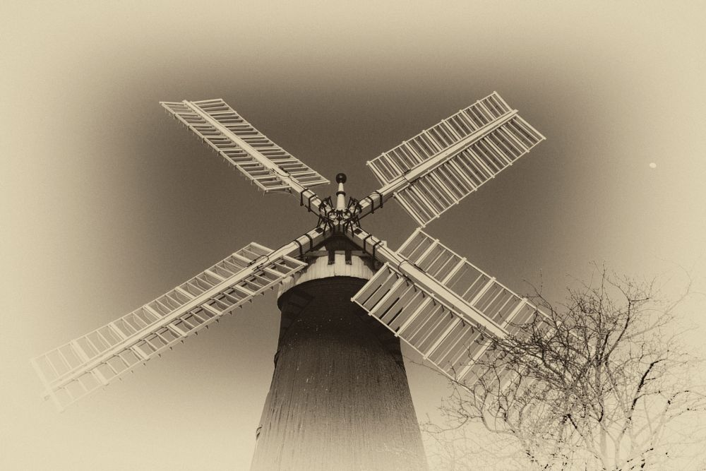 Photo in Landscape #windmill #sails #tree #moon #nik collection