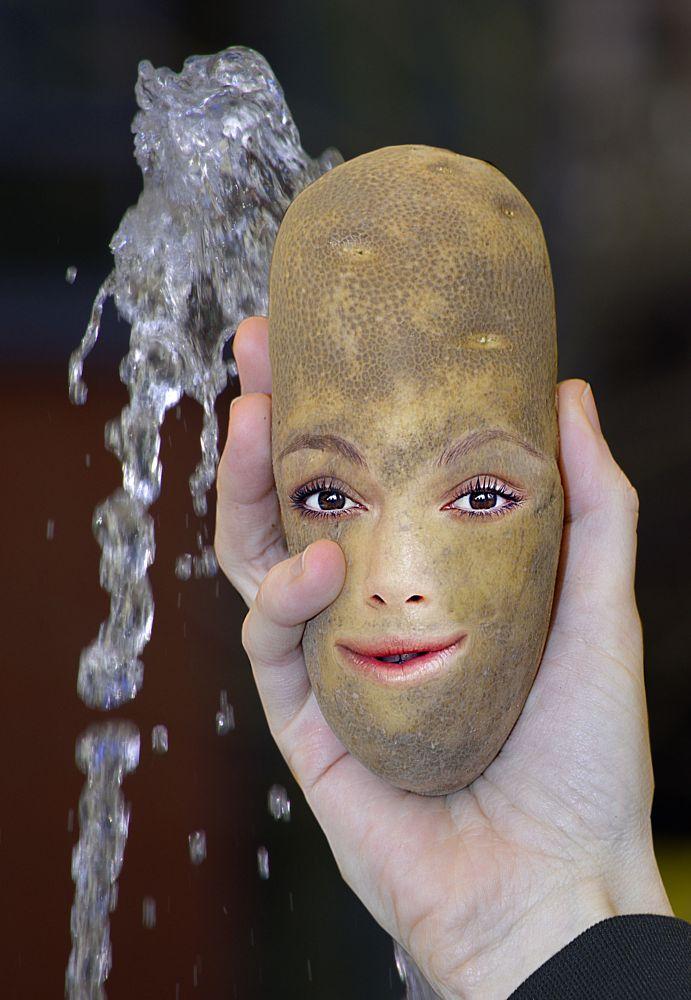 Photo in Food #potatoe head #potatoe #hand #face #questions #fountain #water #bokeh