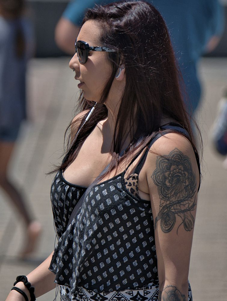 Photo in People #woman #female #lady #tattoo #beauty #shades #image #nosering