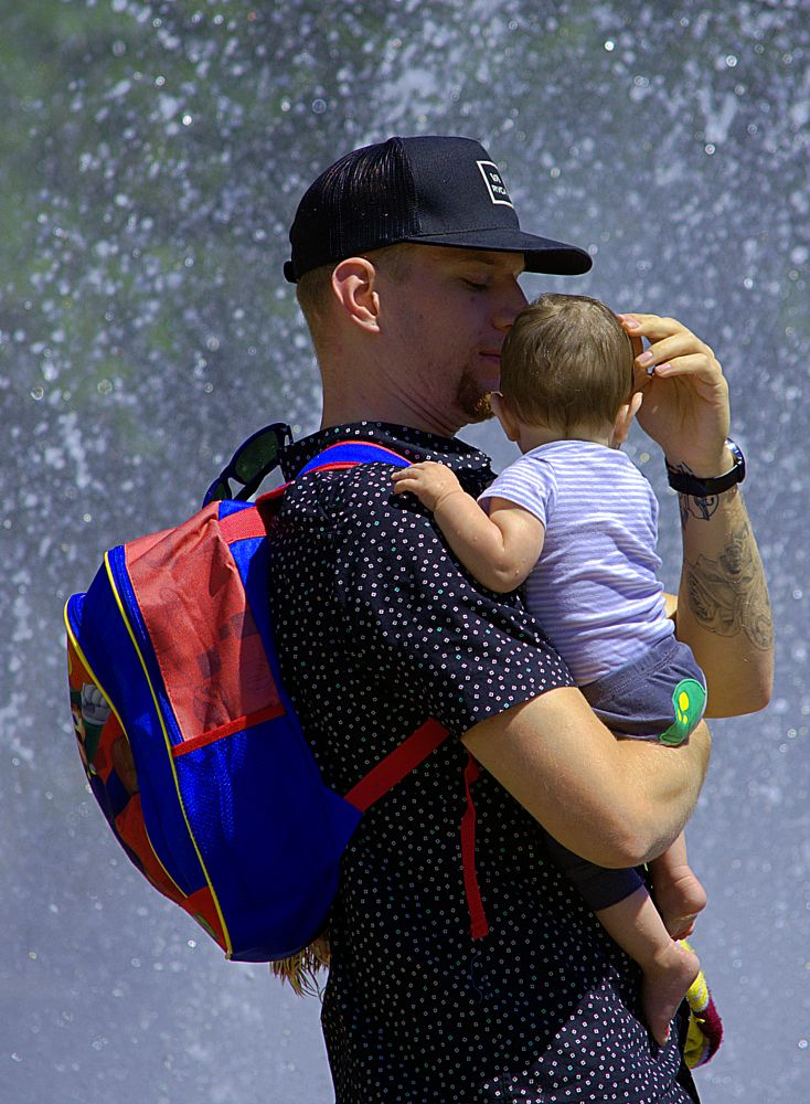 Photo in People #father #infant #baby #carry #care #tattoo #cute #child