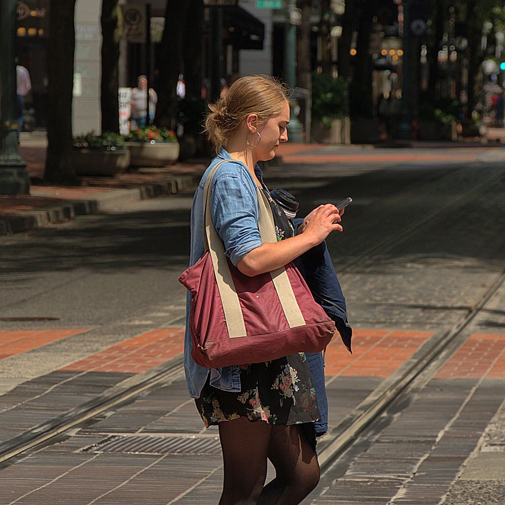 Photo in People #woman #female #lady #blonde #street #city #crossing #preoccupied