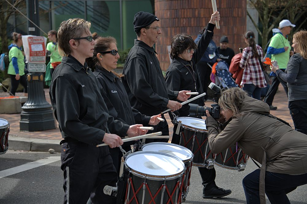 Photo in Street Photography #band #drums #drumline #music #photographer #woman #camera