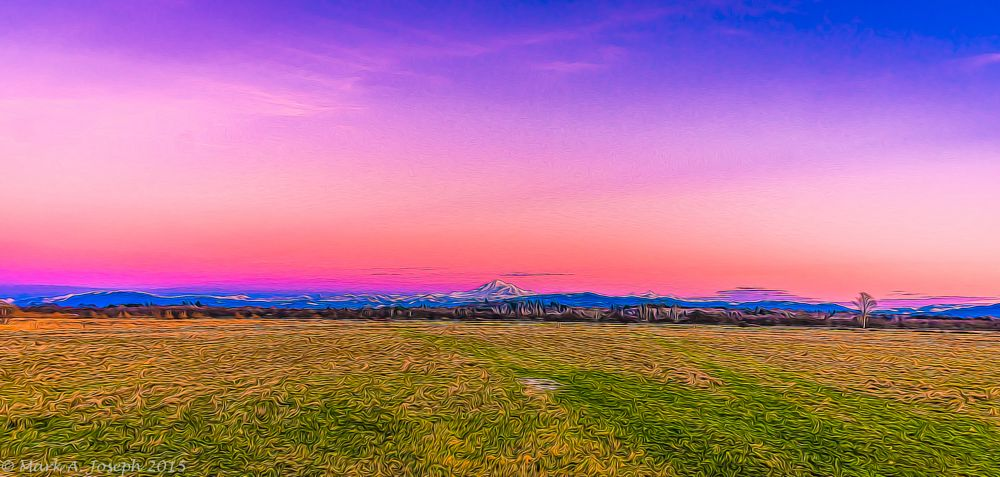 Photo in Landscape #sunset #field #grass #mountains #mt. baker #colorful sky #beautiful