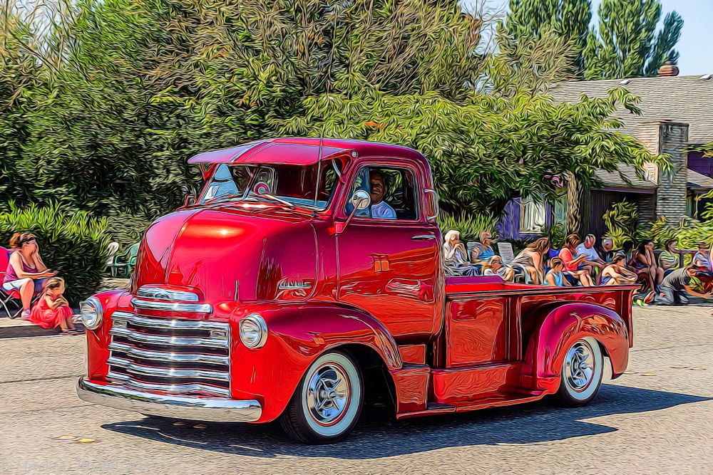 Photo in Street Photography #parade #street scene #truck #classic truck #restored truck #people
