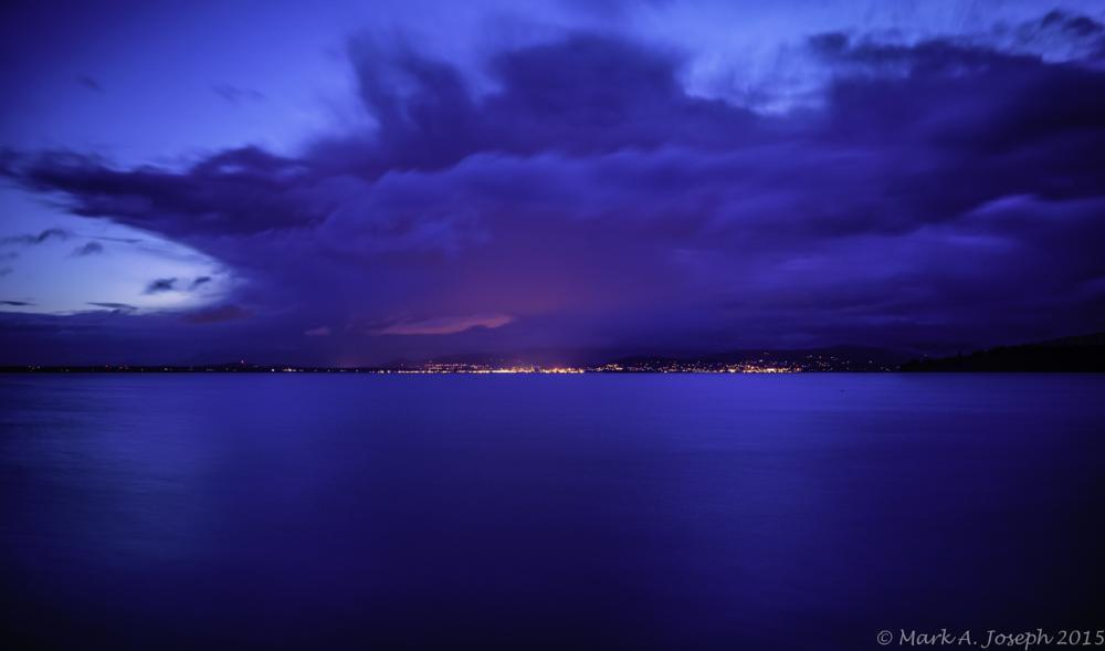 Photo in Landscape #beach #waves #citylights #clouds #sunrise #morning #bellingham bay #washington