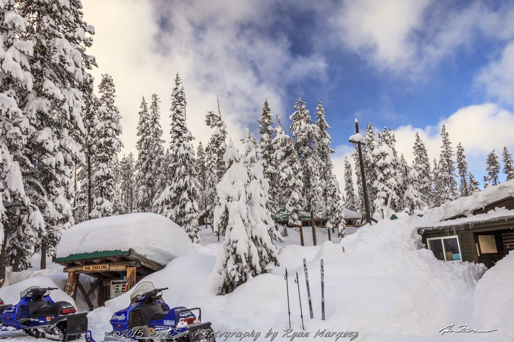 Photo in Rural #snow #bend #oregon #mountains #landscape #trees #winter #snowmobile