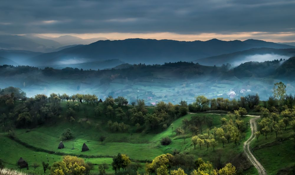 Photo in Landscape #roads #maramures #early morning #green #colors of autumn #trees #hills #village #rural #countryside