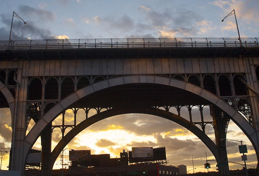 Photo in Cityscape #nyc #harlem #evening #cityscape #architecture #street photography #sunset #bridge #neighborhood