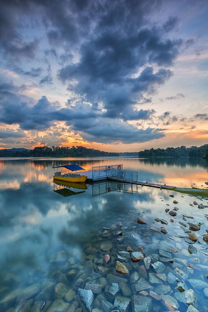 Photo in Landscape #landscape #cloudy #park #reservoir #dusk #stones #waterscape #landmark #reflection #ypa2013