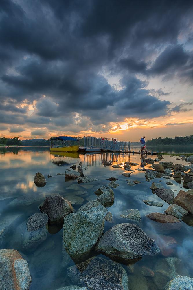 Photo in Random #ypa2013 #landscape #weather #park #reflection #stones #boat #dusk #sunset #waterscape