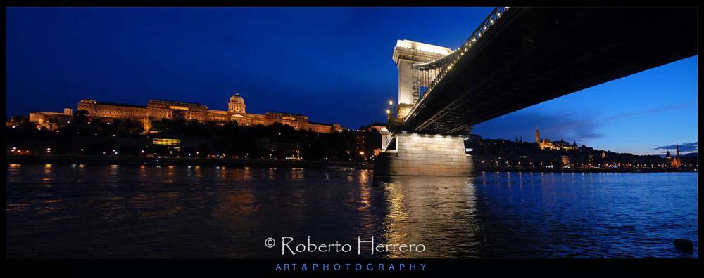 Photo in Travel #budapest #hungary #danubio #rio #puente #palacio real #puente cadenas #noche #panorama