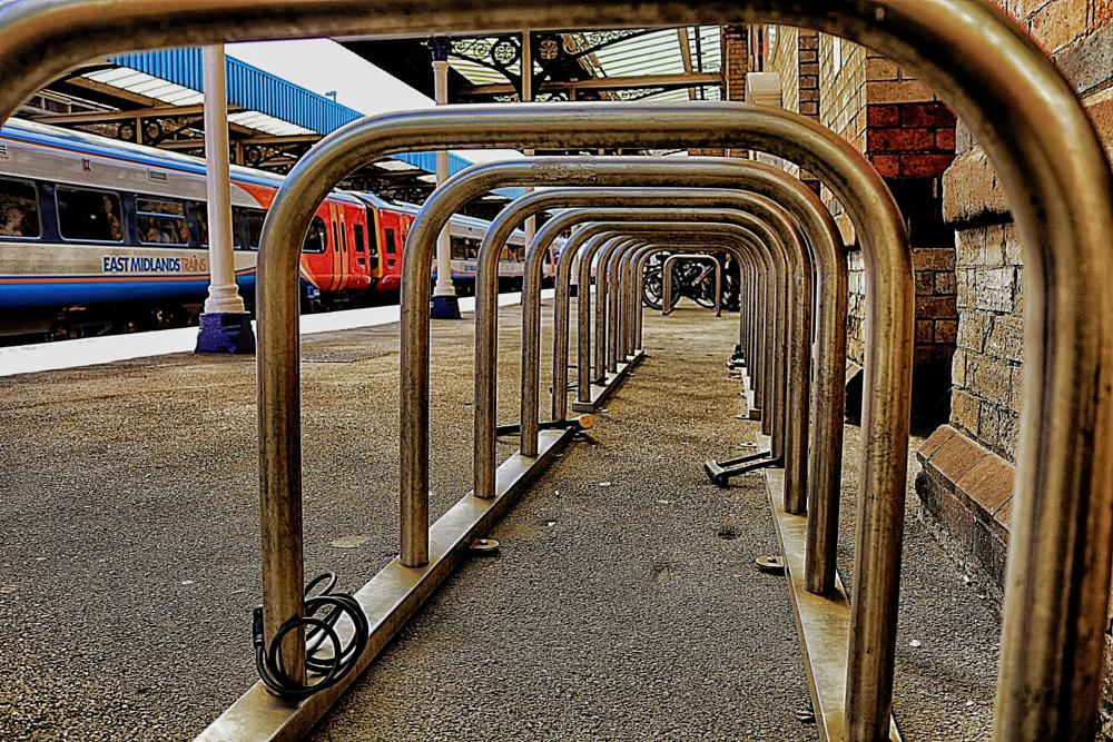 Photo in Travel #warrington #central #station #bike #rack #bicycle #transport #abstract #railway #perspective #train