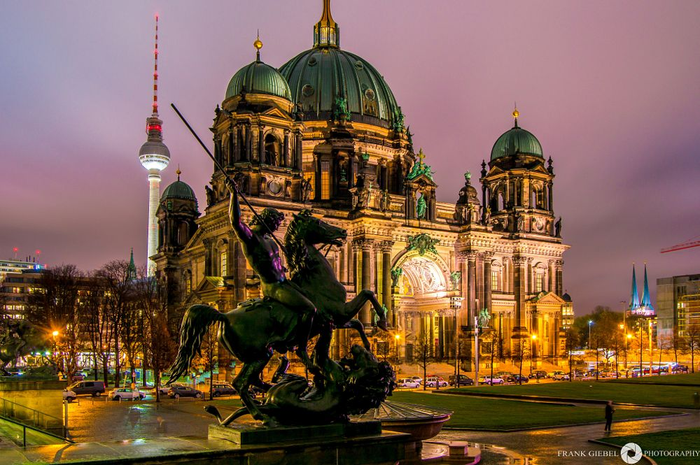 Photo in Cityscape #berlin #fernsehturm #night #germany #berliner #dom