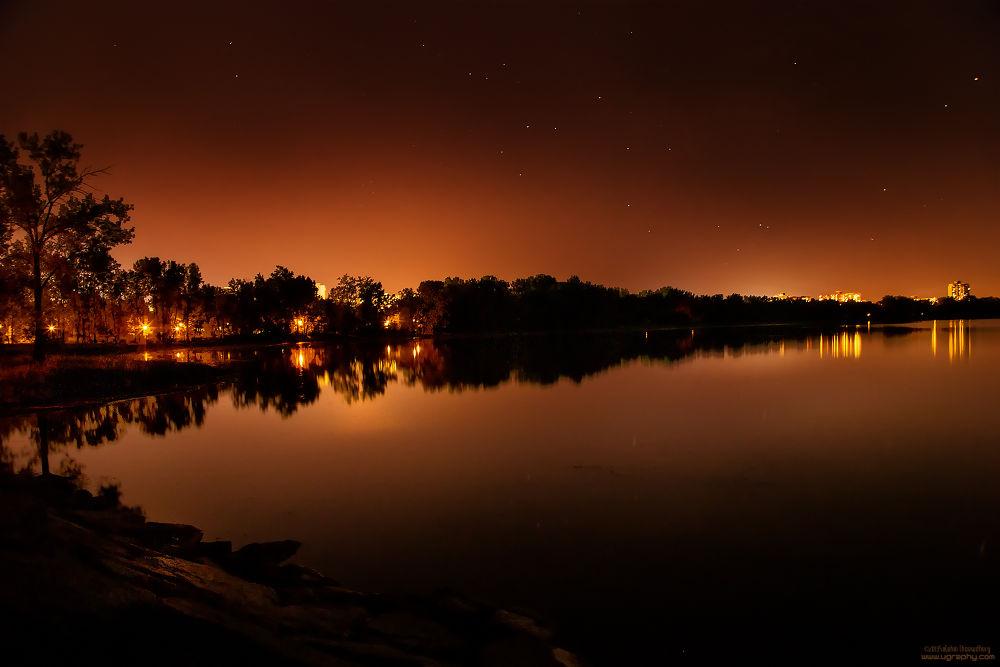 Photo in Random #reflection #silhouette #ottawa #brittania park #stars #longexposure #star