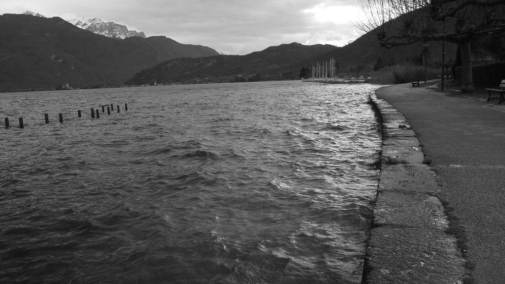 Photo in Black and White #lake #landscape #stake #harbor #boat #monochrome #mountains #black and white #haute-savoie