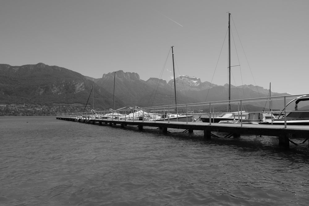 Photo in Black and White #ponton #lake #black and white #mountains