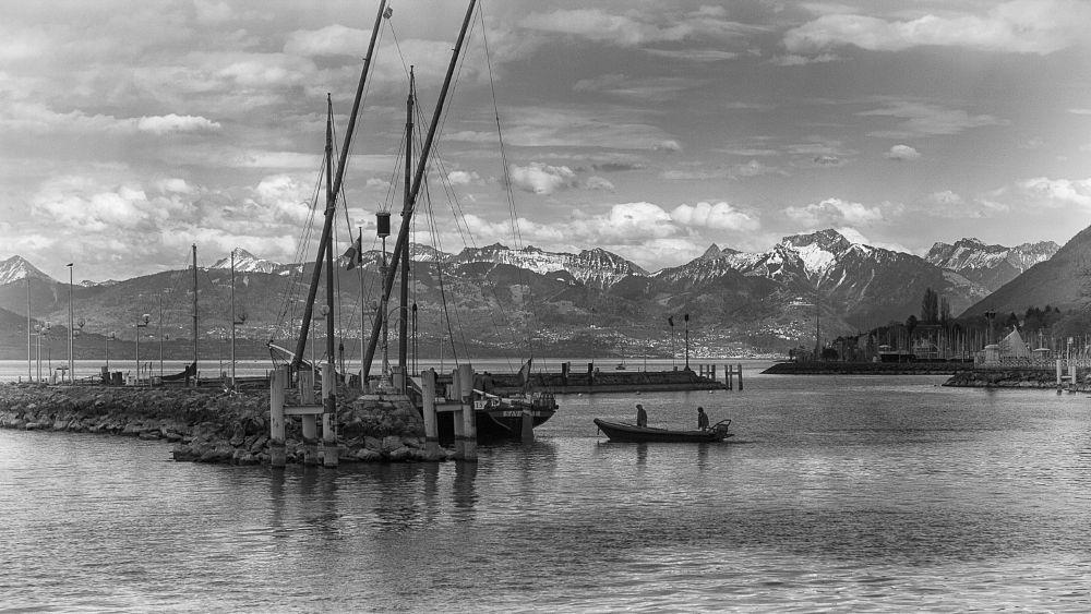Photo in Black and White #landscape #lac #port #marin #montagne #france #évian