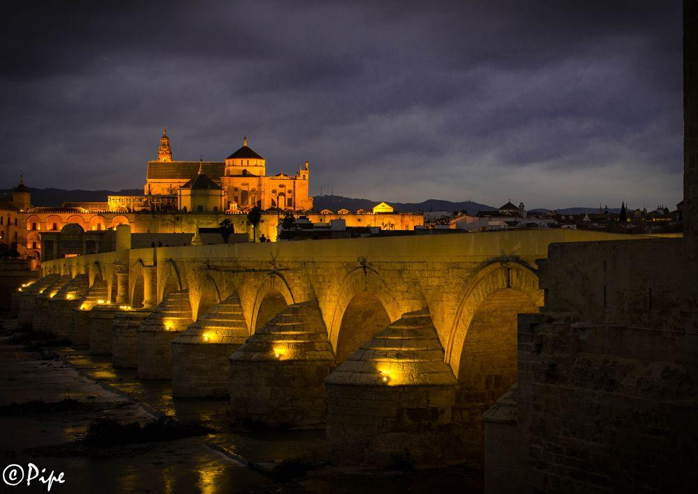 Photo in Random #roman #bridge #night #darkness #tourismo #córdoba
