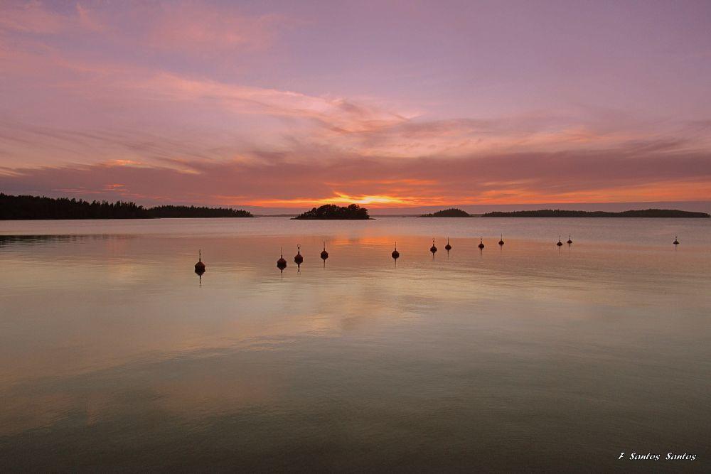 Photo in Landscape #sunset #sea #sun #finland