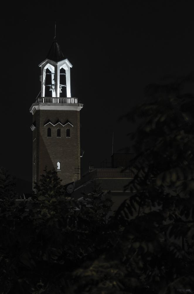 Photo in Architecture #bells #steeple #tower #church #light #longexposure #night #trees #religious #building #church