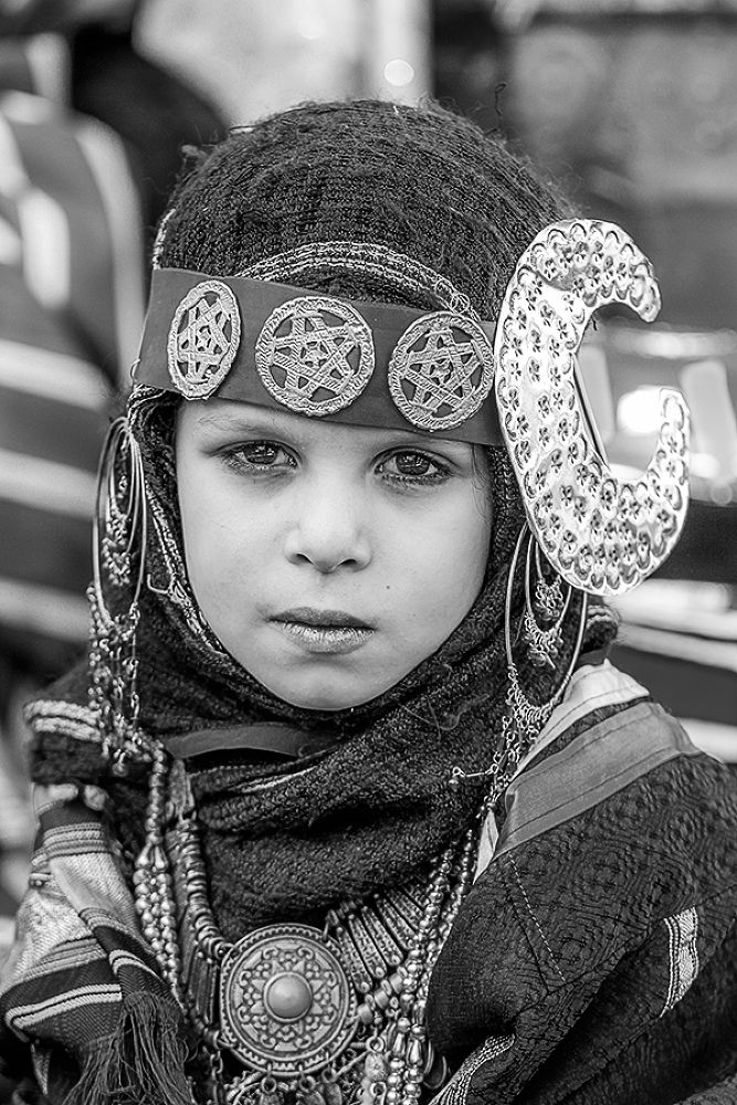 Photo in Black and White #libyan #girl #child #black and white