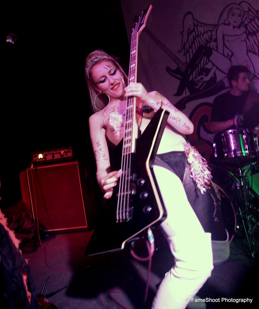 Photo in Concert #the soap girls #gig #show #pub #band #french #south africans #bassist #musician #girl #funny