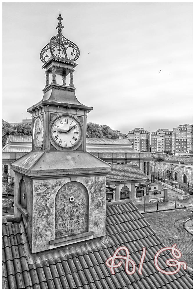 Photo in Black and White #gibraltar #clock #rural